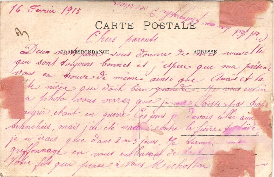 Texte de la carte postale-photo envoyée le 16 février 1915 par René Michollin à ses parents (doc. Christiane Fivel)