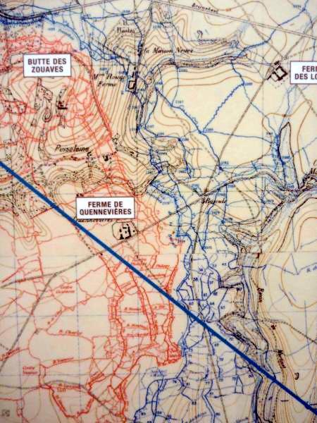 Carte de la « butte des Zouaves » et de la ferme de Quennevières (site pages1418)
