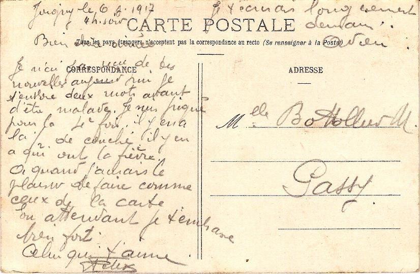 « En permission. Le départ », Texte de la carte envoyée le 6 juillet 1917 par Félix Gruz à Marie Bottollier (doc. Famille Devillaz)