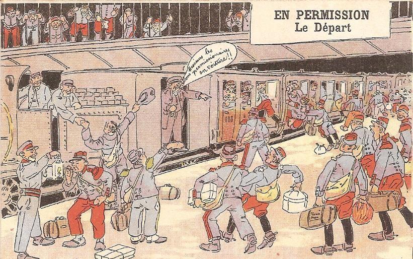 « En permission. Le départ », carte envoyée le 6 juillet 1917 par Félix Gruz à Marie Bottollier (doc. Famille Devillaz)