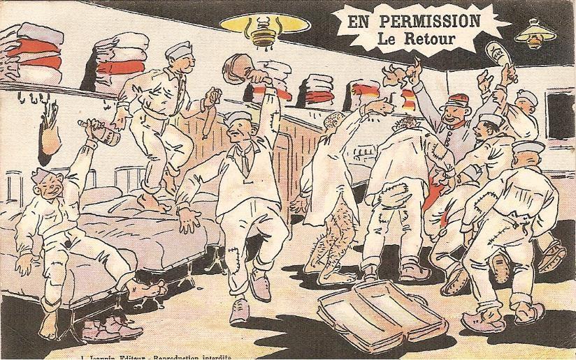 « En permission. Le retour », carte envoyée le 26 juillet 1917 par Félix Gruz à Marie Bottollier (doc. Famille Devillaz)