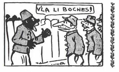 Le tirailleur sénégalais raconta aux Pieds-Nickélés : « 'Y a pas bon ! V'là li Boches. Eux faire kapout à tous li blessés' (p. 89, B3)