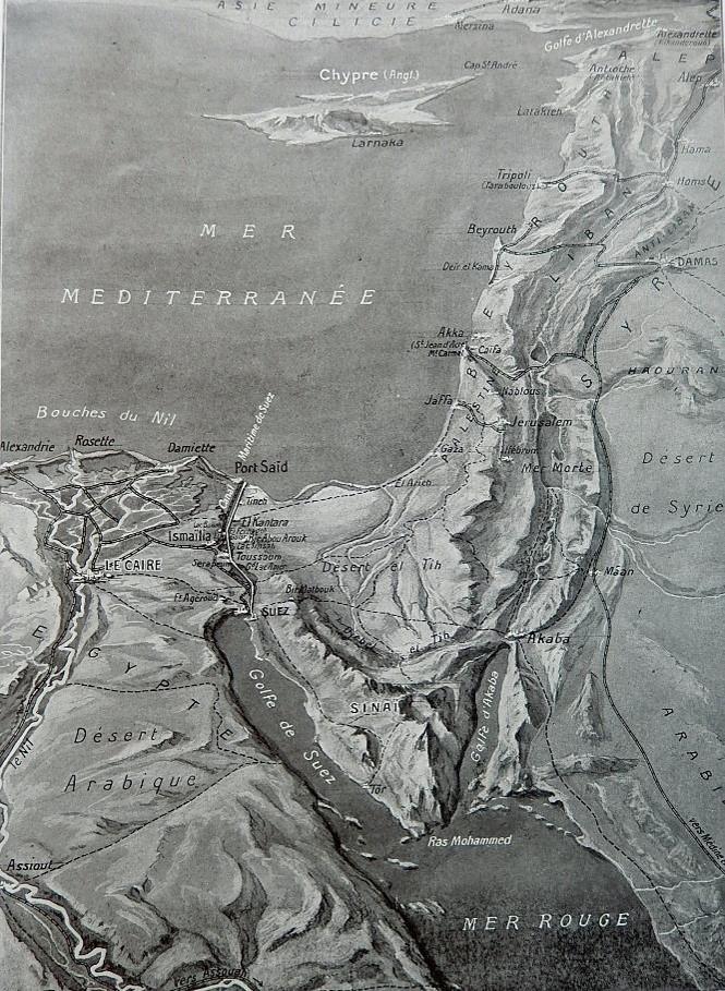 Le canal de Suez et la presqu'île du Sinaï. Croquis panoramique par L. Trinquier publié dans L'Illustration du 13 février 1915 (Doc. J.P. Morin).