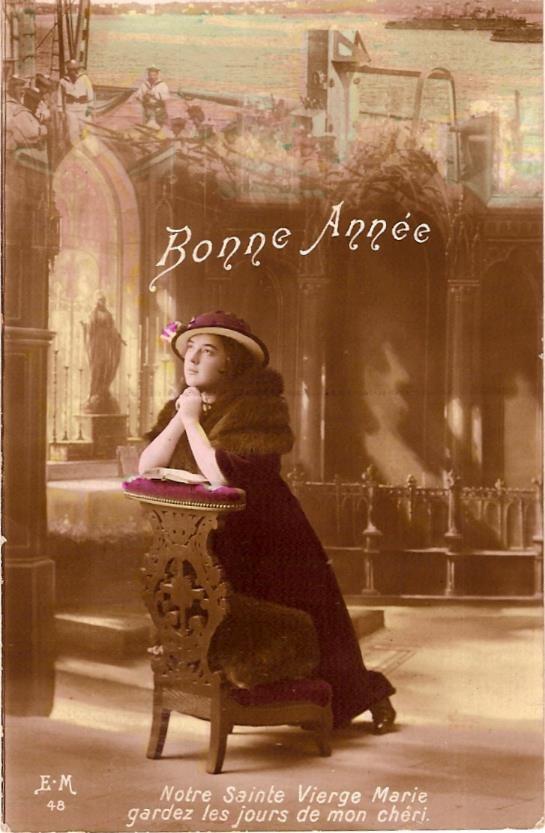 « Bonne année », carte de vœux envoyée le 25 décembre 1915 (Doc;.famille Devillaz)