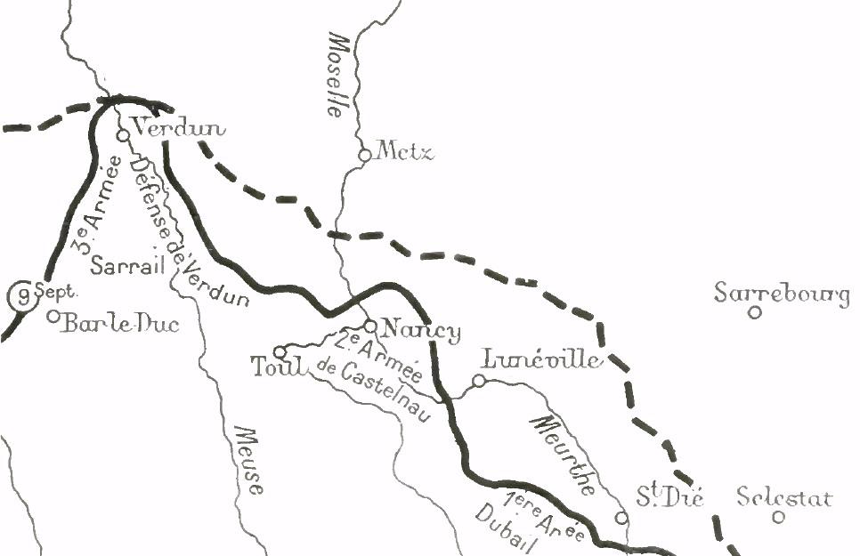 Carte du 9 septembre 1914, de Verdun à Saint-Dié, situant la Bataille de la Haute-Meurthe (Wikipedia, art. Bataille de la Haute-Meurthe)