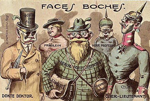Carte postale satirique : « Faces boches » (site caricaturesetcaricature)