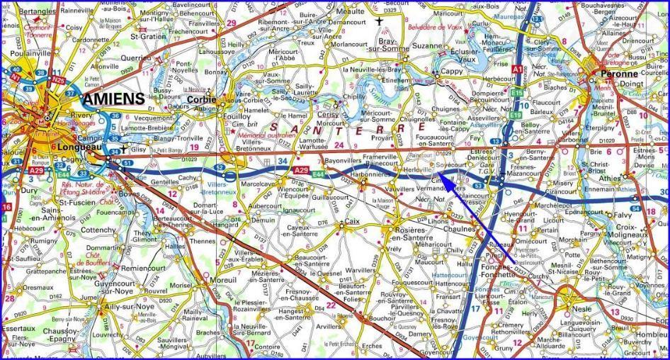 Carte actuelle de la Somme: la flèche situe Herleville ; Chaulnes et Lihons, juste au sud d'Herleville