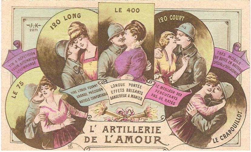 « L'artillerie de l'amour », carte postale humoristique envoyée à sa famille par un artilleur de Passy (Doc. famille Devillaz)
