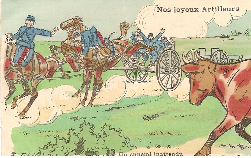 « Un ennemi inattendu », carte postale humoristique envoyée à sa famille par un artilleur de Passy (Doc. famille Devillaz)