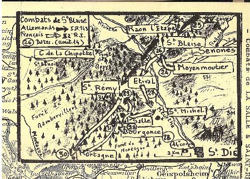 Carte des combats d'août 1914 à St-Blaise (Doc. Claude Bibollet)
