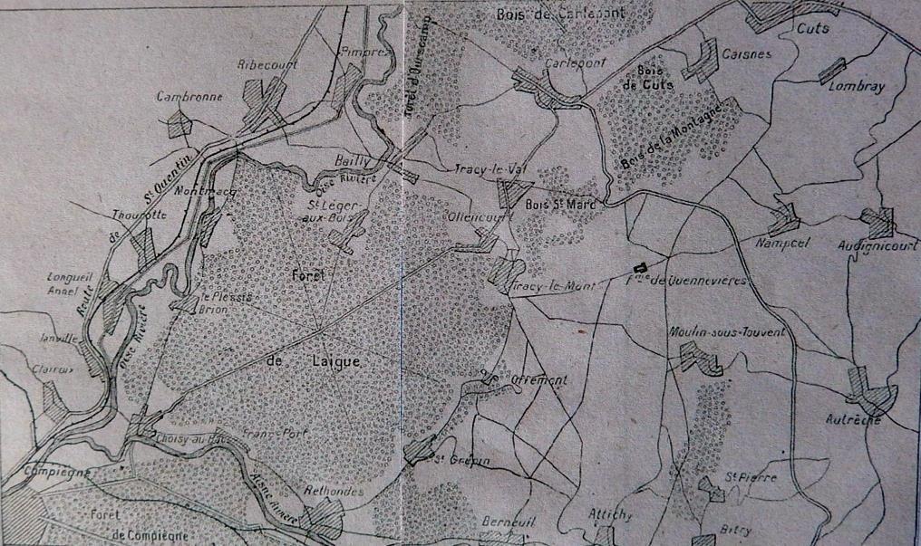 Carte de Cuts, Tracy-le-Mont et du Bois Saint-Mard, extraite de l'Historique du 2ème Zouaves, à l'est de Compiègne (site gallica BNF, p. 10)