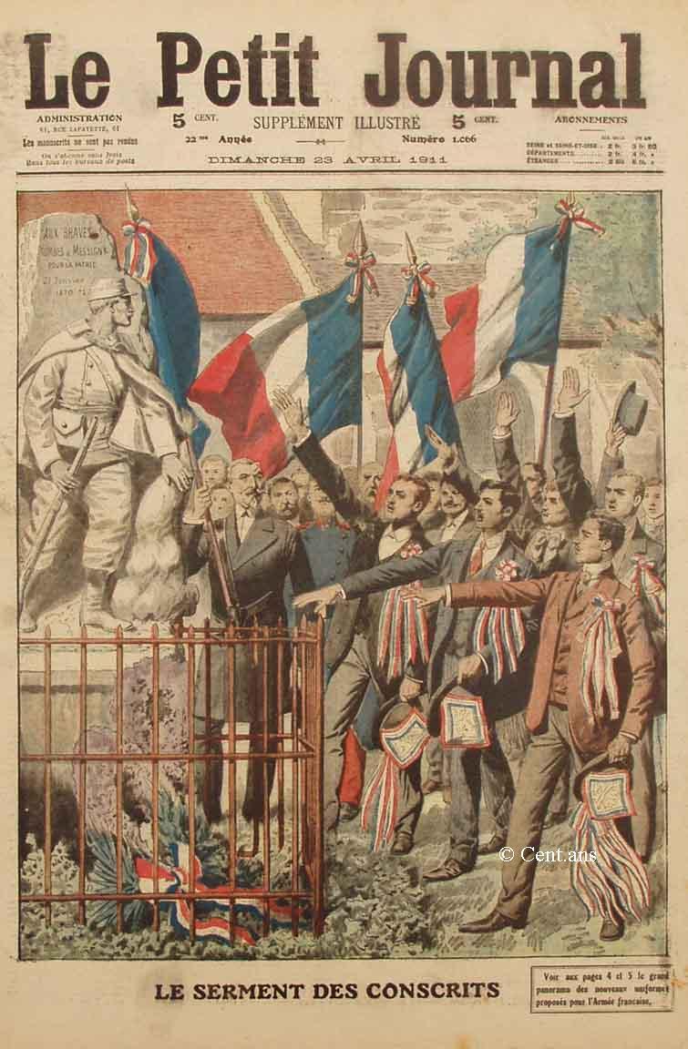 « Le serment des conscrits », Le Petit Journal du dimanche 23 avril 1911