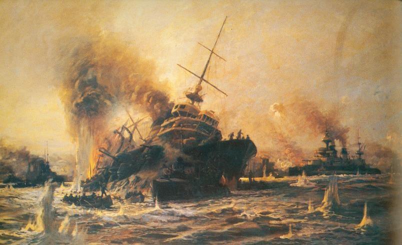 La fin du Bouvet le 18 mars 1915 (Wikipedia, art. Bataille des Dardanelles)