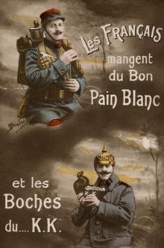 Carte postale « Les Français mangent du Bon Pain Blanc et les Boches du… K.K. » (site compagnons-boulangers-patissiers)