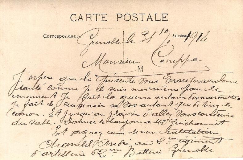 Texte de la carte d'André Chambel envoyée Monsieur Caneppa en 1914 (Doc. Michelle Philippin)