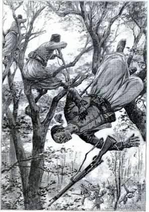 Dessin allemand  illustrant le combat dans le bois Saint Mard avec les « turkos », nom donné aux zouaves par les Allemands (site tracy-le-mont)
