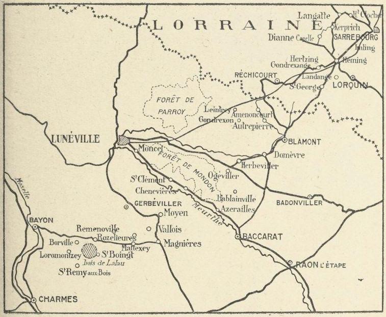 Carte des opérations en Lorraine du 6e Groupe cycliste, août 1914 (Site blamont.info)