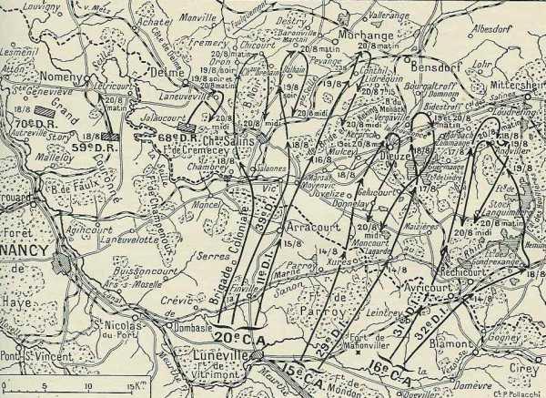 Carte du repli après l'échec de la 2ème Armée devant Morhange (site blamont.info)