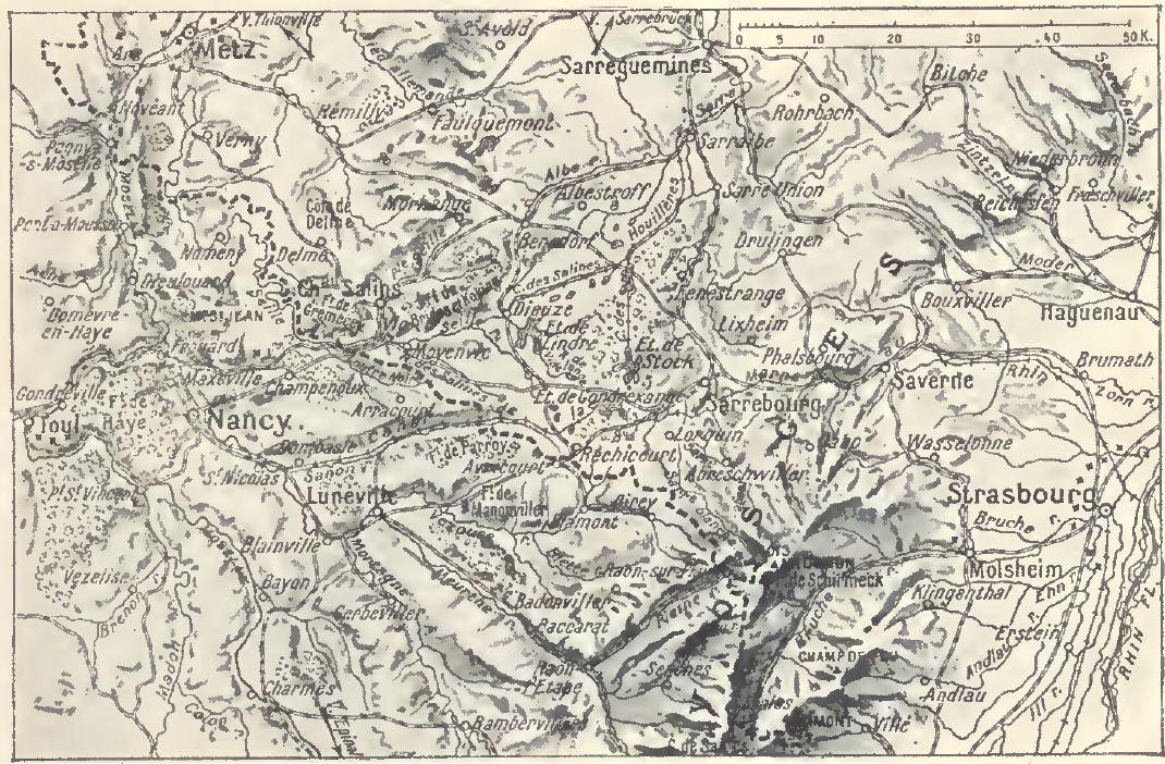 Relief des Hautes-Vosges le 19 août 1914 ; Sarrebourg, au milieu sur la droite, au N.O. de Strasbourg (site blamont.info)