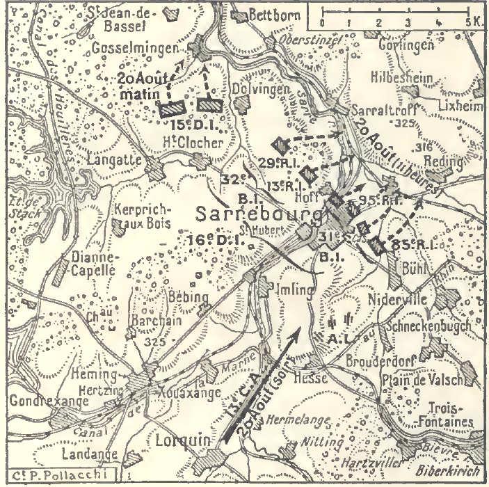 Carte de Sarrebourg le 20 août 1914 ; Gosselmingen est en haut à gauche ; Bühl à droite au sud-est de Sarrebourg (site blamont.info)