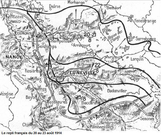 Le repli français du 20 au 23 août 1914 ; Rozelieures et la Trouée de Charmes en bas à gauche (site chtimiste)