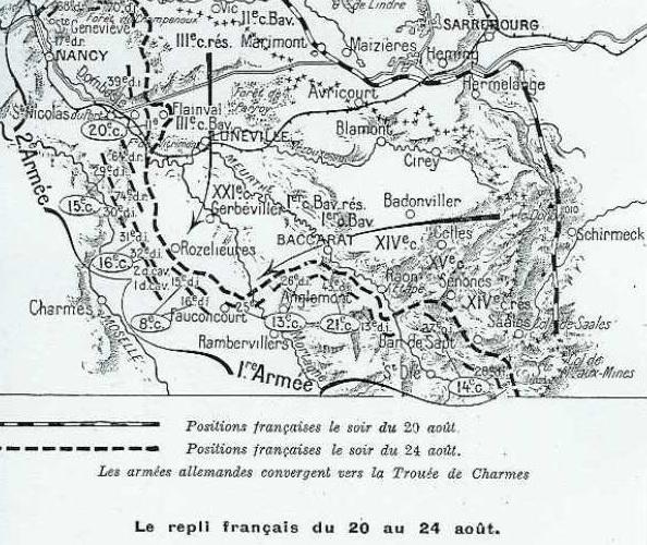 Carte de la situation du 20 au 24 août 1914 : le repli français (site collateraux-1914.1918)