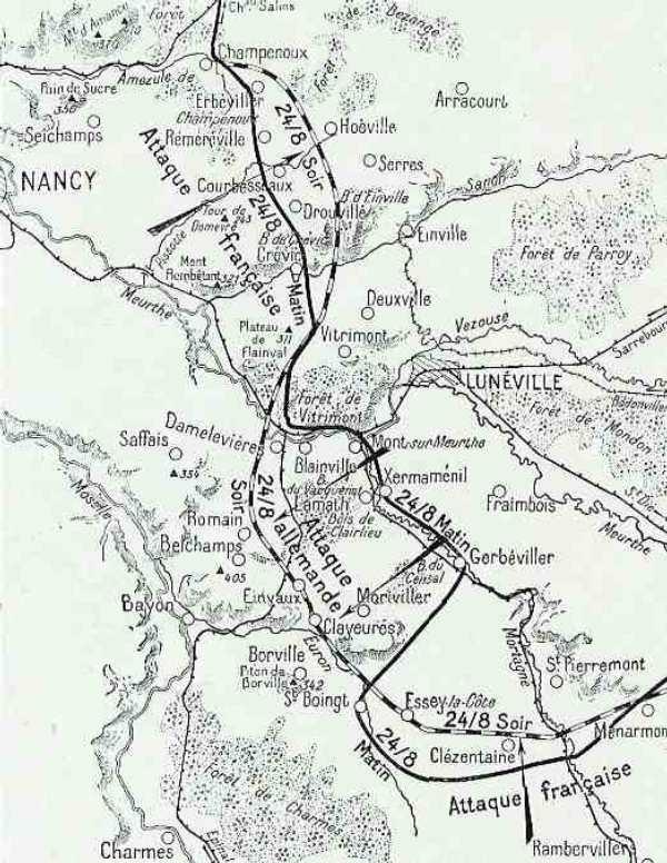 Carte de l'attaque allemande du 24 août 1914 (site Wikipedia)