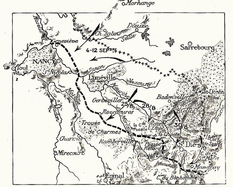Carte de l'offensive allemande du 25 août au 12 septembre 1914 ; en bas à droite, la Chipotte, au nord-ouest de St-Dié et au sud-est de Raon-l'Etape; (site Wikipedia, art. Bataille de la Chipotte)