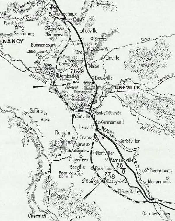 Carte des opérations du 26 au 29 août 1914 (site Wikipedia)