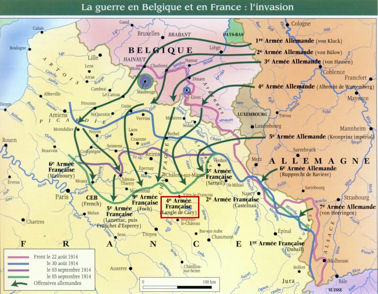 Evolution du front ouest du 22 août au 5 septembre 1914 (site riboulet.info)