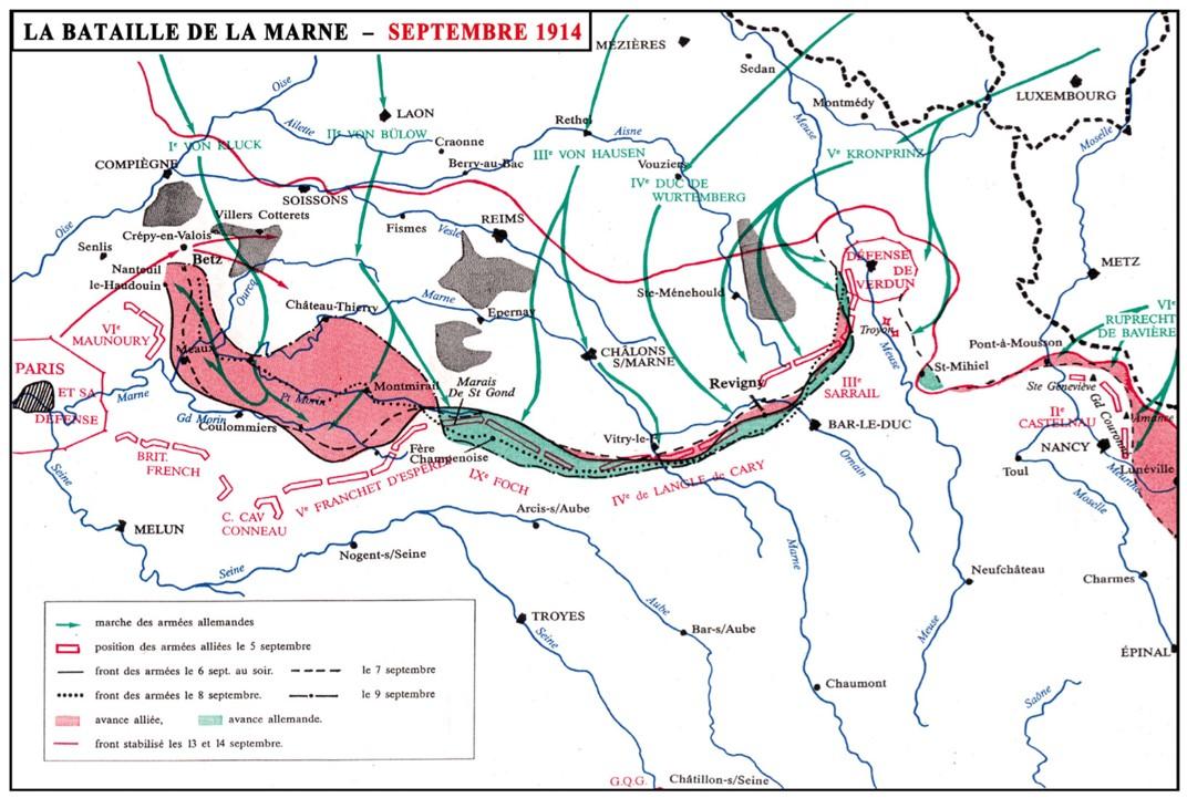 Bataille de la Marne et évolution du front du 6 au 14 septembre 1914 (Internet)