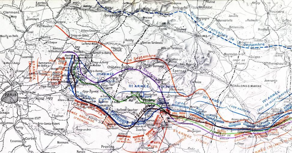 Evolution du front ouest du 6 au 15 septembre 1914 ; Châlons-sur-Marne, à droite de la carte ; Suippes au nord de Châlons-sur-Marne (site chtimiste)
