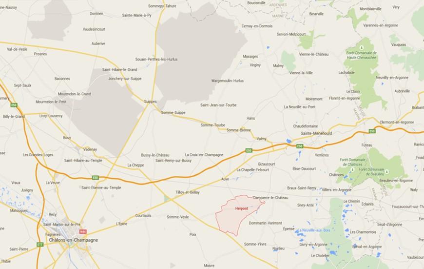 Carte actuelle de l'Epine, Herpont [à l'est de Châlons-en-Champagne], Suippes [au N.E. de Châlons-en-Champagne] (Google maps)