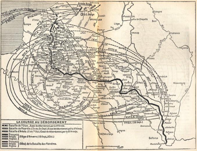 Carte des mouvements par l'arrière (chemin de fer) des unités des armées françaises, britannique et allemandes pendant la course à la mer en septembre et octobre 1914 (site commons.wikipedia.org)