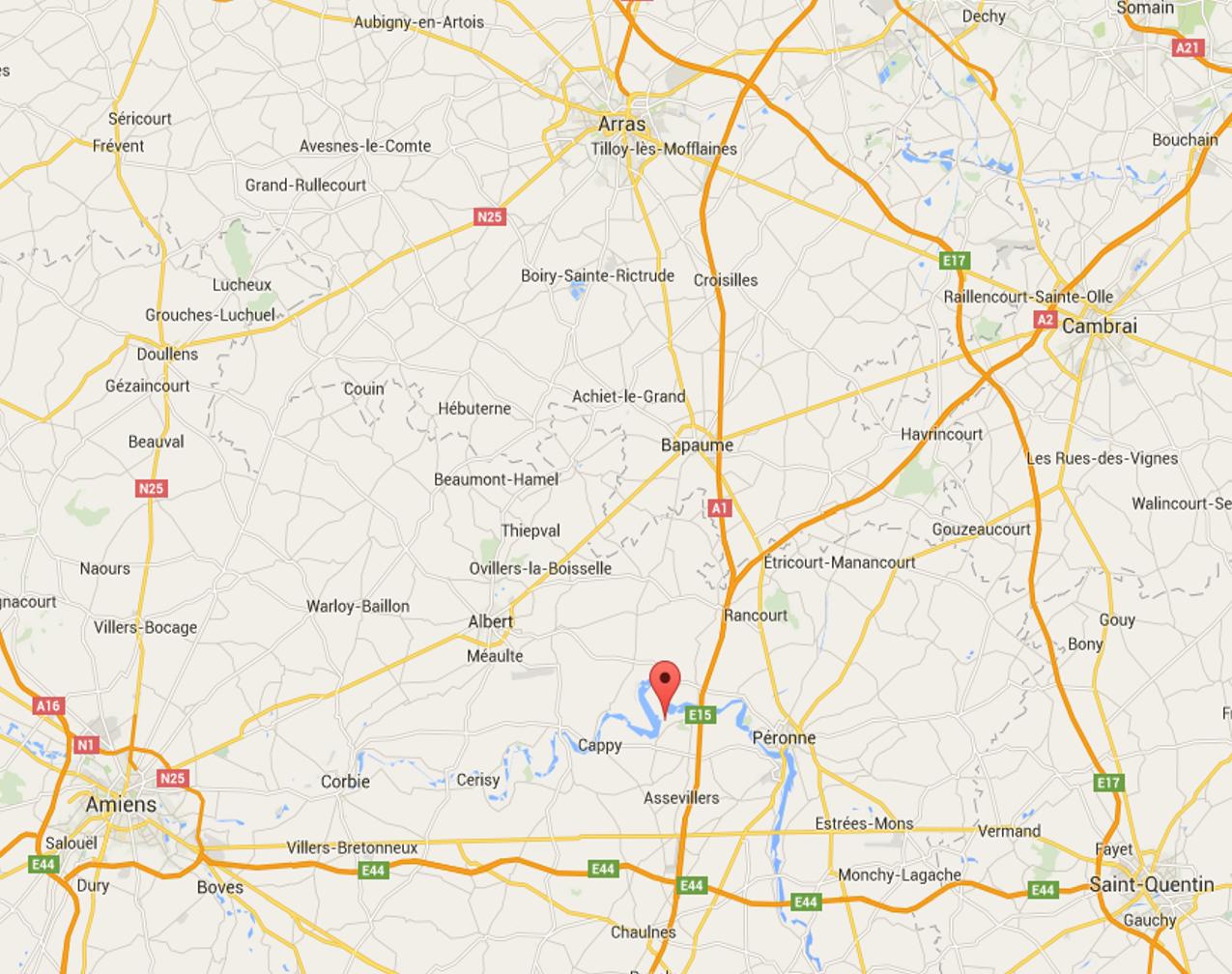 Carte actuelle de l'est d'Amiens situant Harbonnières et Herleville, Lihons et Chaulnes (Google maps)