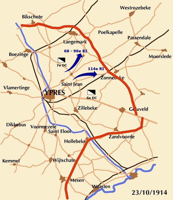 Carte du secteur d'Ypres en octobre 1914 (site indre1418.canalblog, blog du 68e RI)