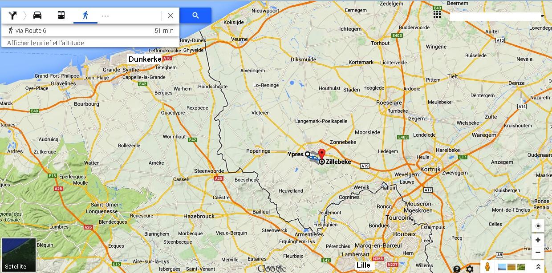 Carte des Flandres; Hazebrouck, Aire-sur-la Lys et St-Omer en bas sur la gauche; Estaires en bas au milieu (Internet)