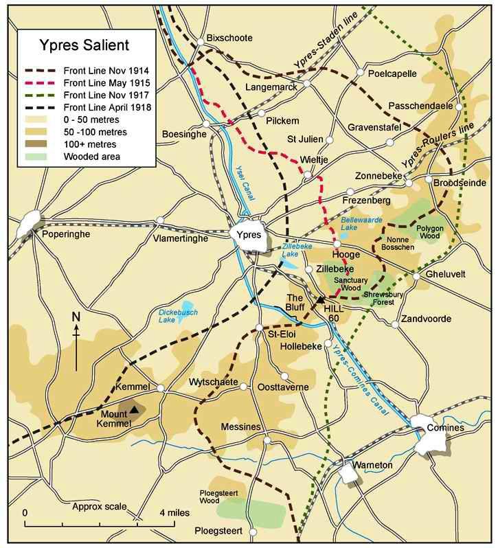Evolution du front dans le secteur d'Ypres (site 87dit.canalblog.com)