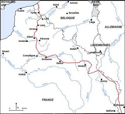Carte du front fin 1914
