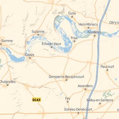 Carte actuelle de la Somme et de la région de Dompierre (au centre), Foucaucourt, Faÿ [entre Foucaucourt et Dompierre], Cappy (en haut à gauche sur la Somme)