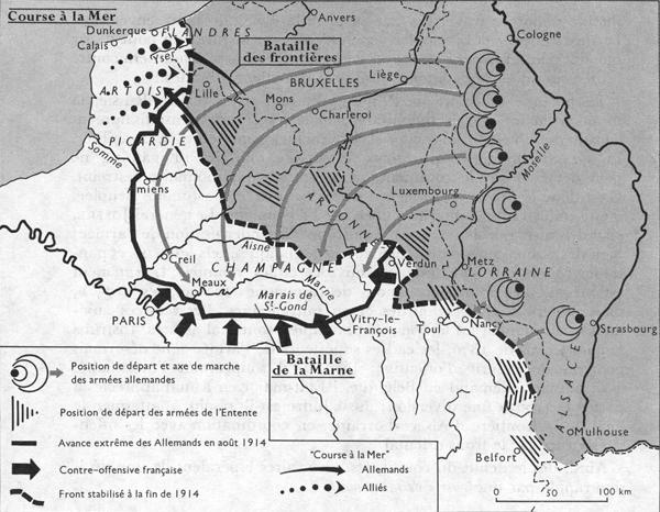 Carte de la « Course à la mer » (Site coulon59 )
