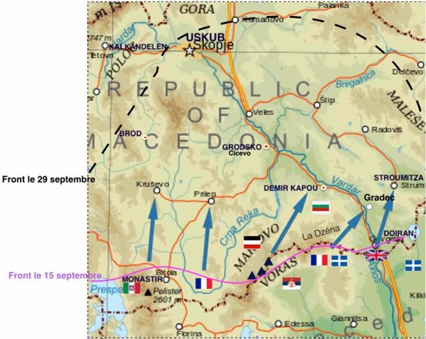 Uskub-Skopje en haut à gauche (site Wikipedia, art. manœuvre d'Uskub)