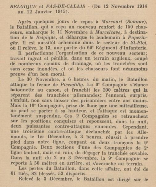 Historique du 62e BCAP : combats de la ferme de Piccadilly du 30 novembre au 3 décembre 1914 (Site gallica.bnf.fr, p. 3)