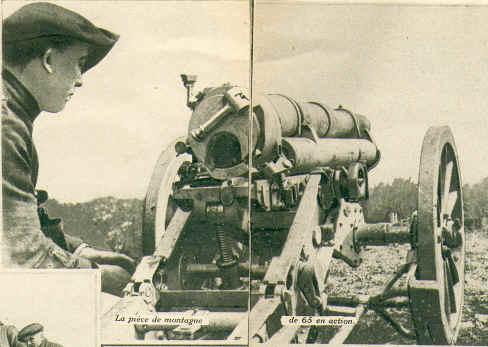 Vue d'une pièce en action  (photos de canon de 65 mm dans J'ai Vu n° 40 du 21 Août 1915, Coll. Mathieu) (site mathieuvaldivia Secteur fortifié du Dauphiné)