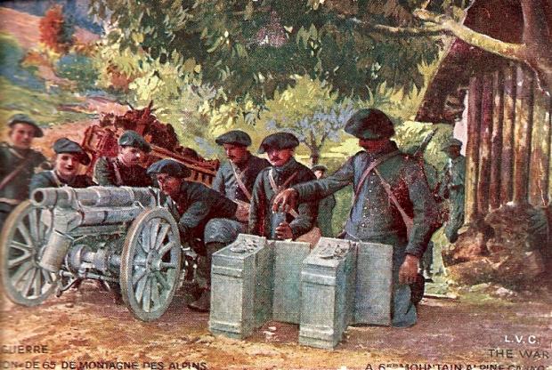 Pièce de 65 de montagne en batterie, avec son caisson de munitions  (site landships.info)