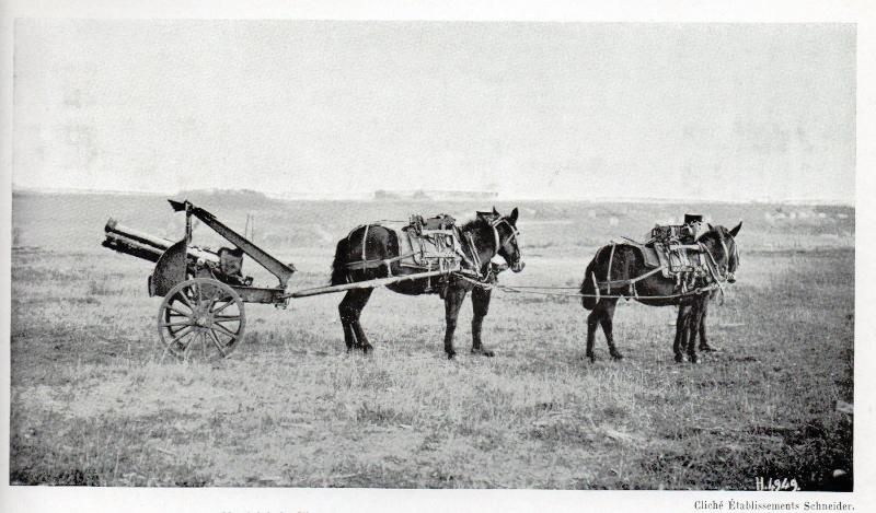 Mulets attelés à un canon de 75, cliché des Etablissements Schneider (Site atf40.forumculture)