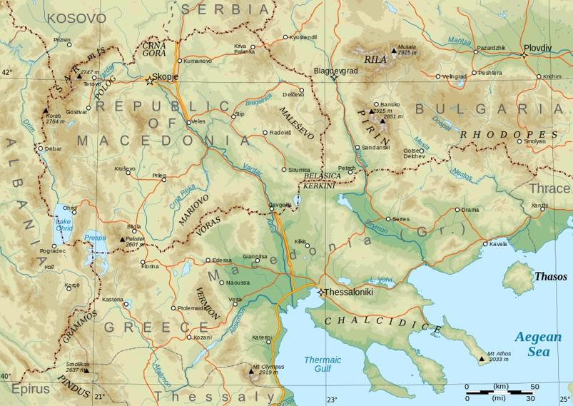 Carte moderne de la Macédoine : Uskub-Skopje en haut à gauche (site art. manœuvre d'Uskub)