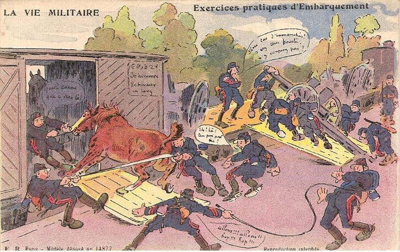 Une vision humoristique de l'embarquement des chevaux. Carte postale envoyée à Passy par Félix Grux, artilleur, le 27 décembre 1916 (Doc. famille Devillaz)