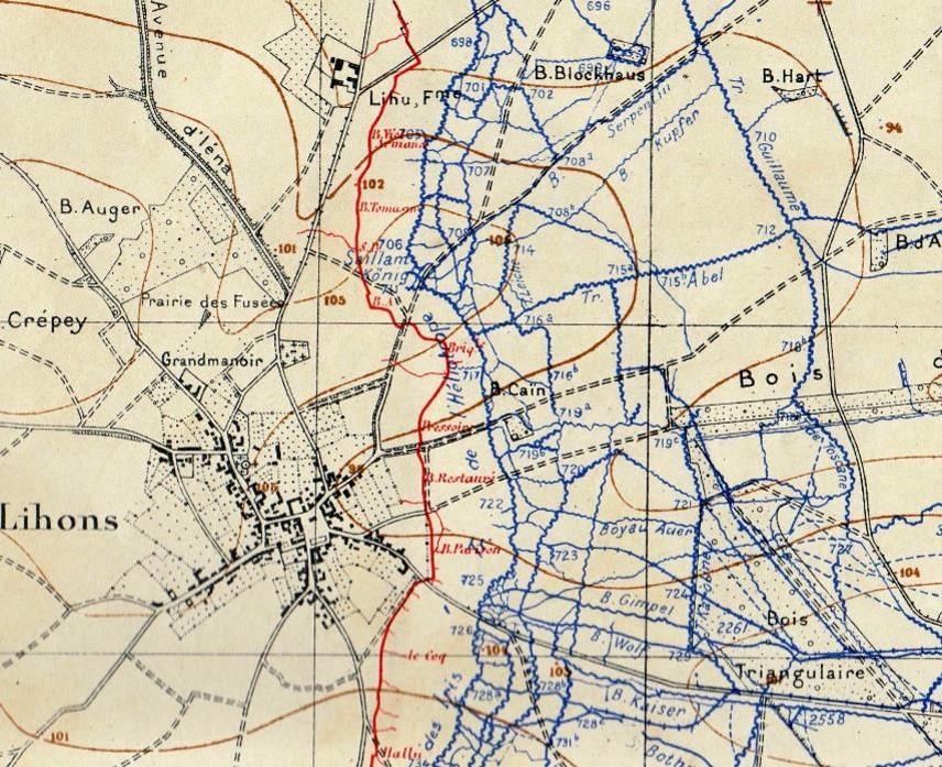 Carte d'état-major datant de 1916, où est figurée en rouge, la Briqueterie (site pages14-18)