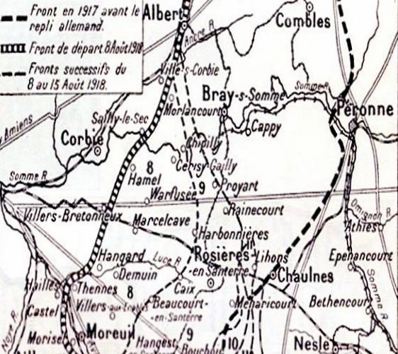 Secteur de Lihons et Chaulnes sur une carte de 1918